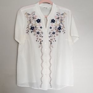 Vintage Orvis floral embroidered cotton silk top